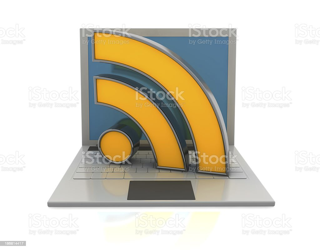Rss Icon on Laptop royalty-free stock photo
