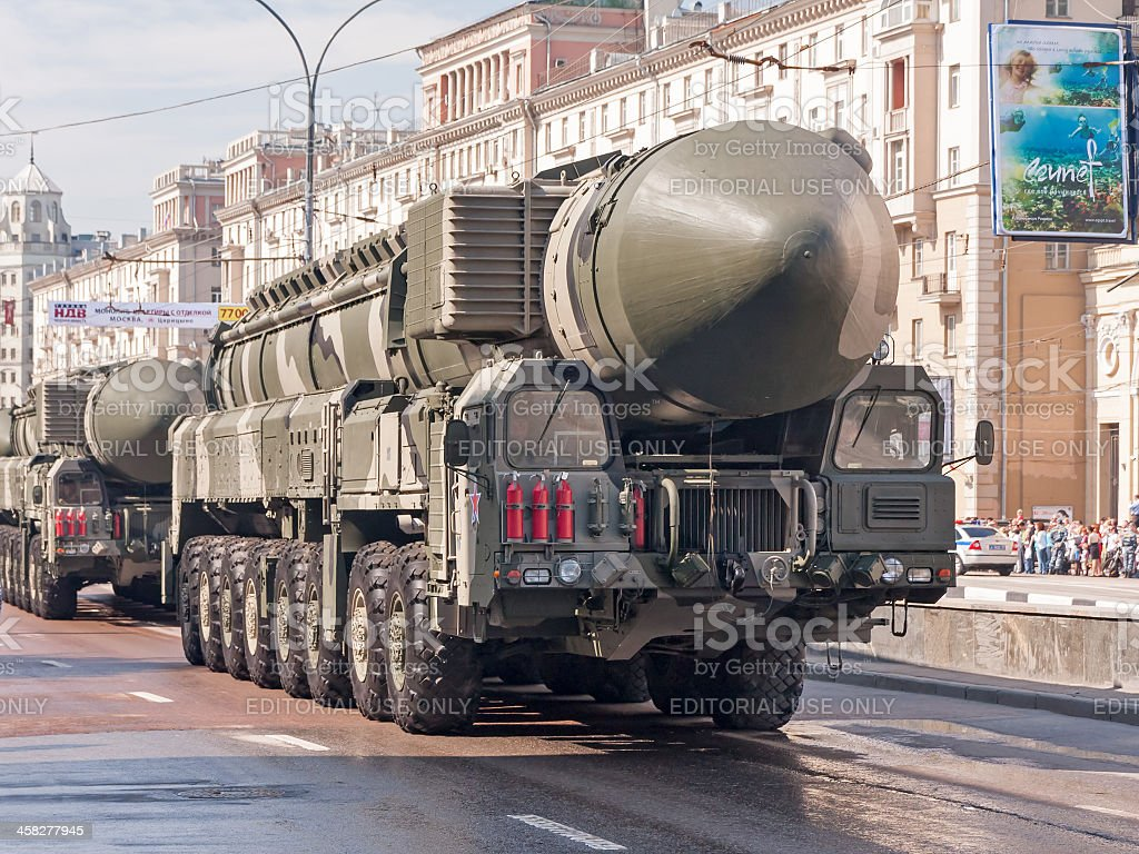 RT-2UTTKh Topol-M (SS-27) intercontinental ballistic nuclear missile on parade festivities stock photo