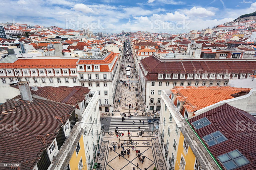 Rua Augusta and Baixa, Lisbon stock photo