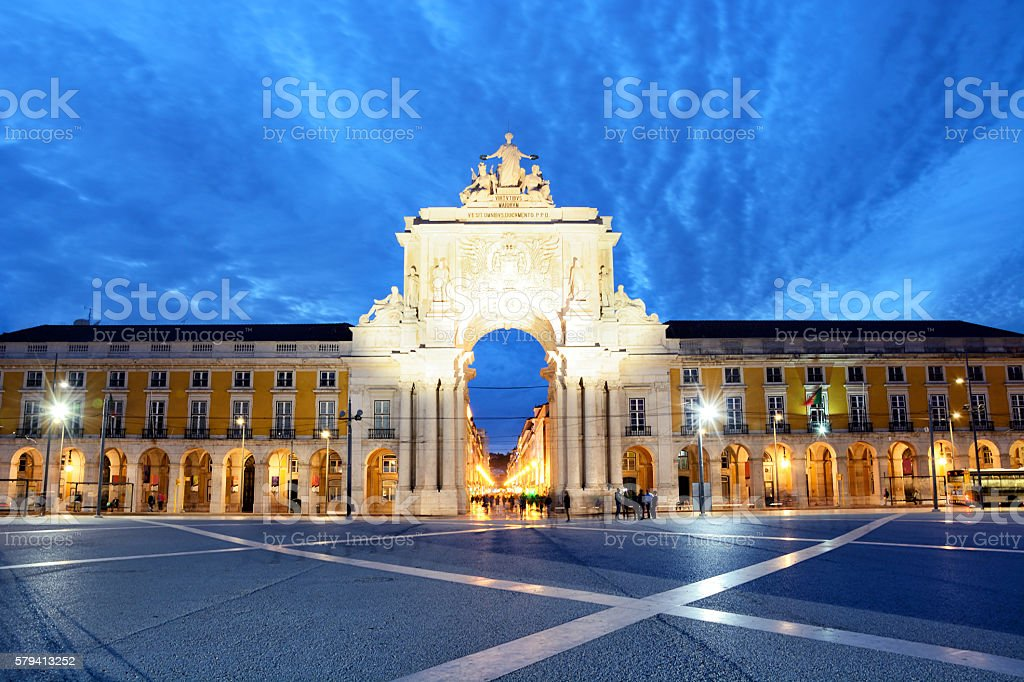 Rua Augusta Arch, Lisbon stock photo