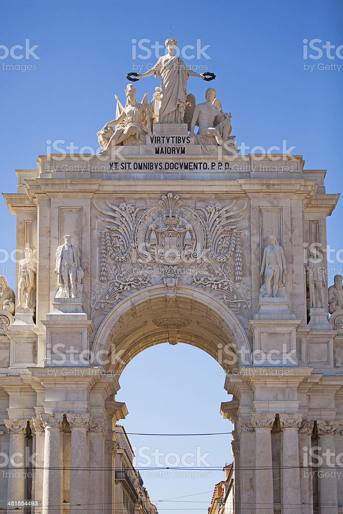Rua Augusta's Triumphal Arch stock photo