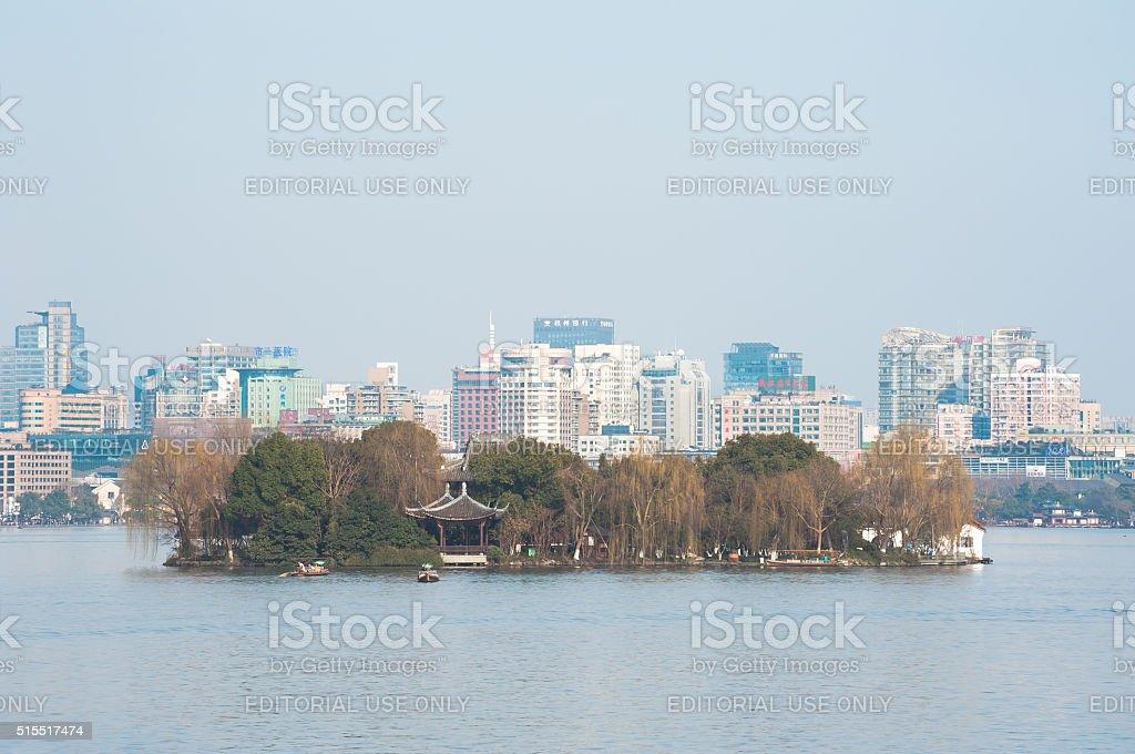 Ruangong Islet at West Lake, Hangzhou stock photo