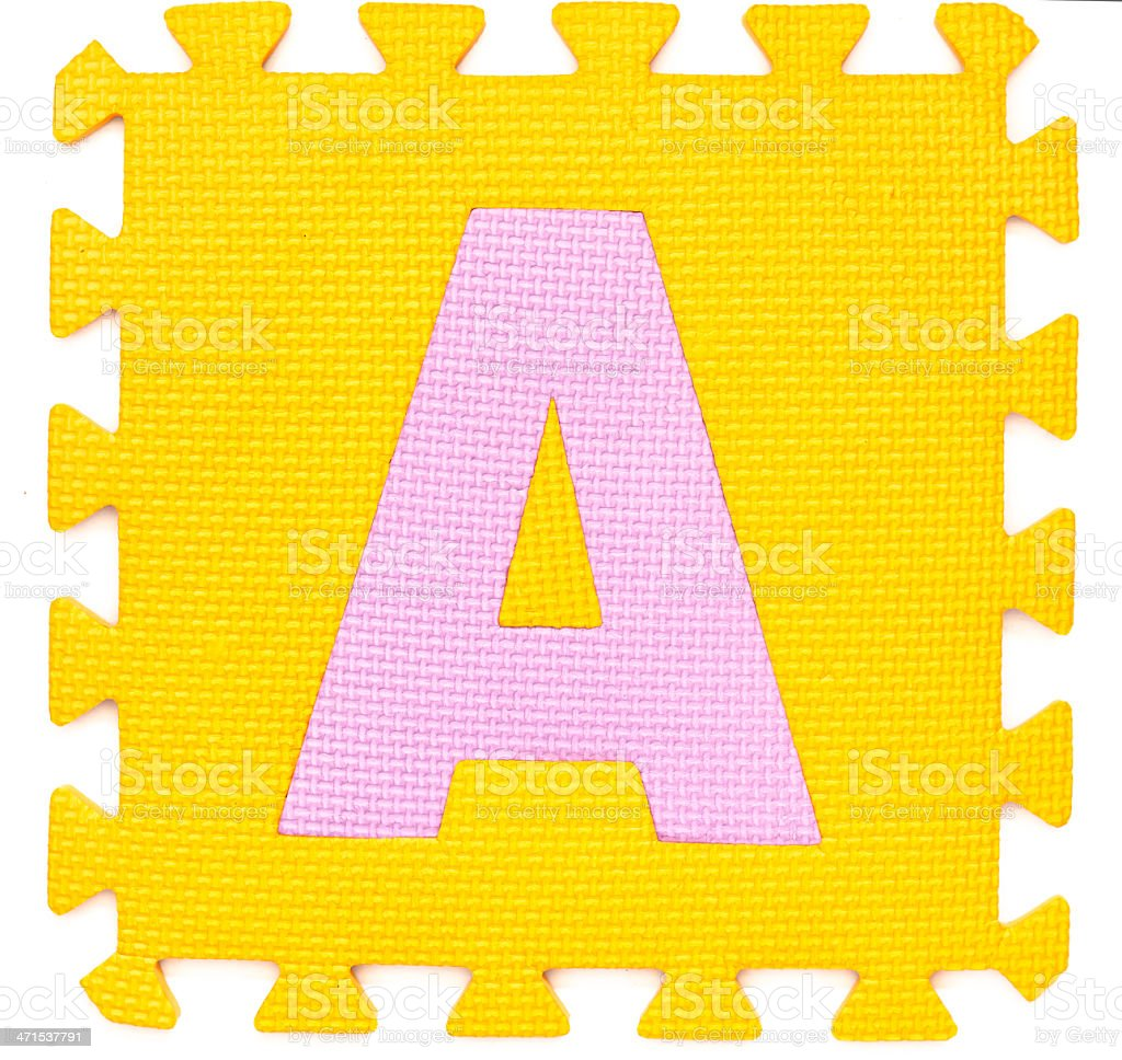 Rubber alphabet A isolated royalty-free stock photo