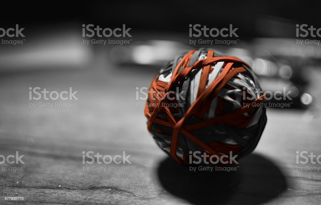 Rubber Band Ball, Black and White stock photo