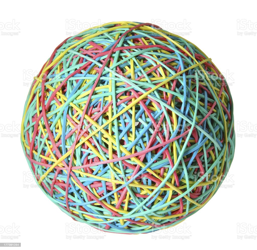 Rubber band ball. stock photo