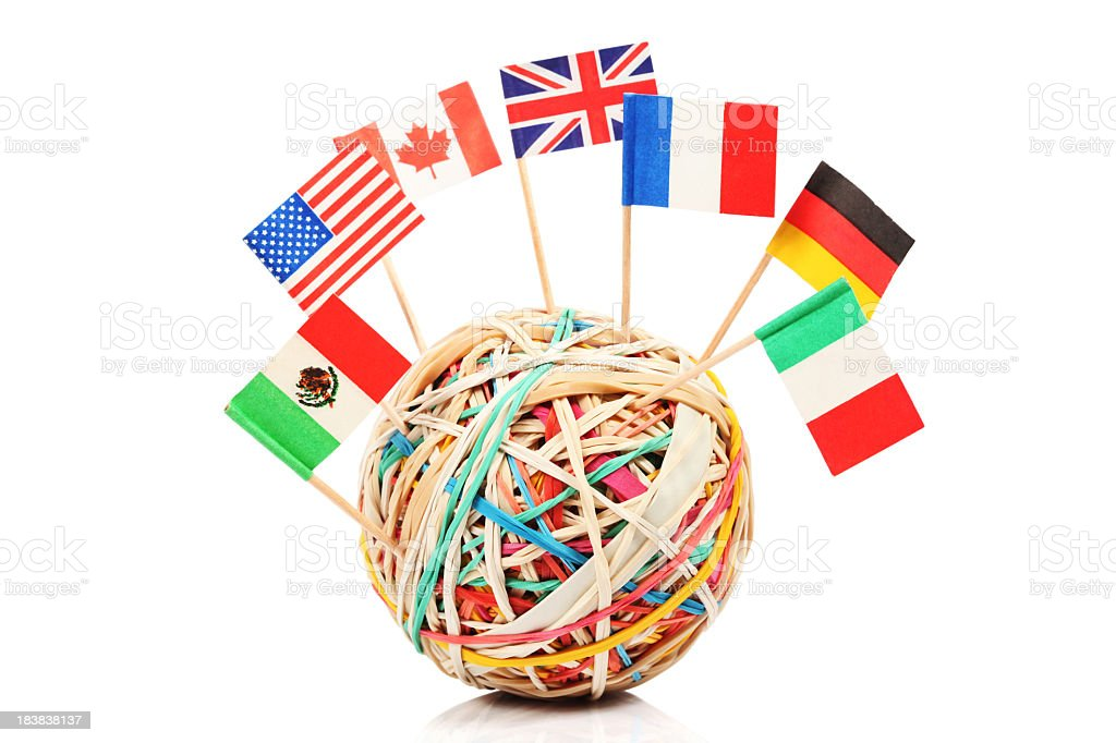 Rubber band ball with flags stock photo