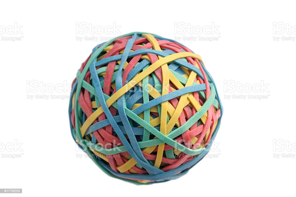 Rubber Band Ball--Isolated on White royalty-free stock photo