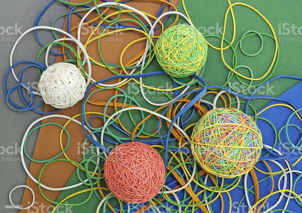 rubber band balls stock photo