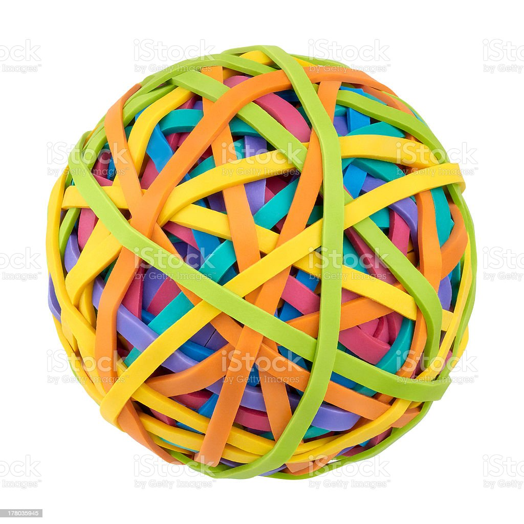 Rubber bands for money on a white background stock photo