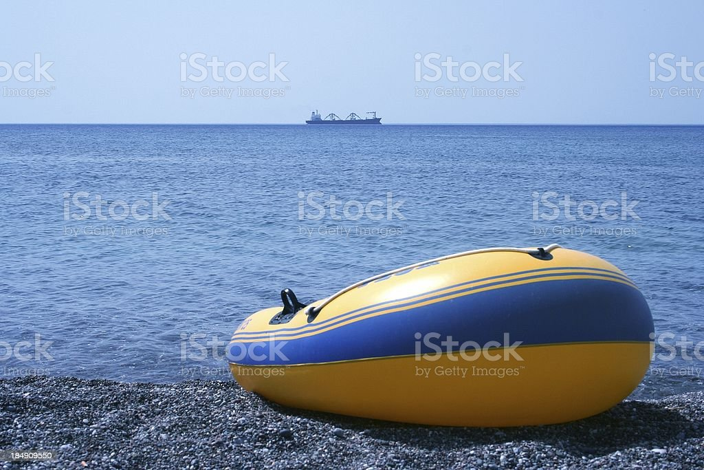 Rubber boat and cargo royalty-free stock photo
