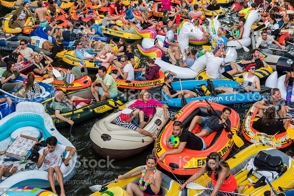 Rubber Boat Mission in Canals of Utrecht,  Netherlands stock photo