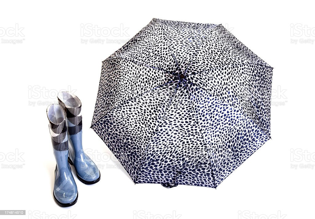 rubber boots and umbrella royalty-free stock photo