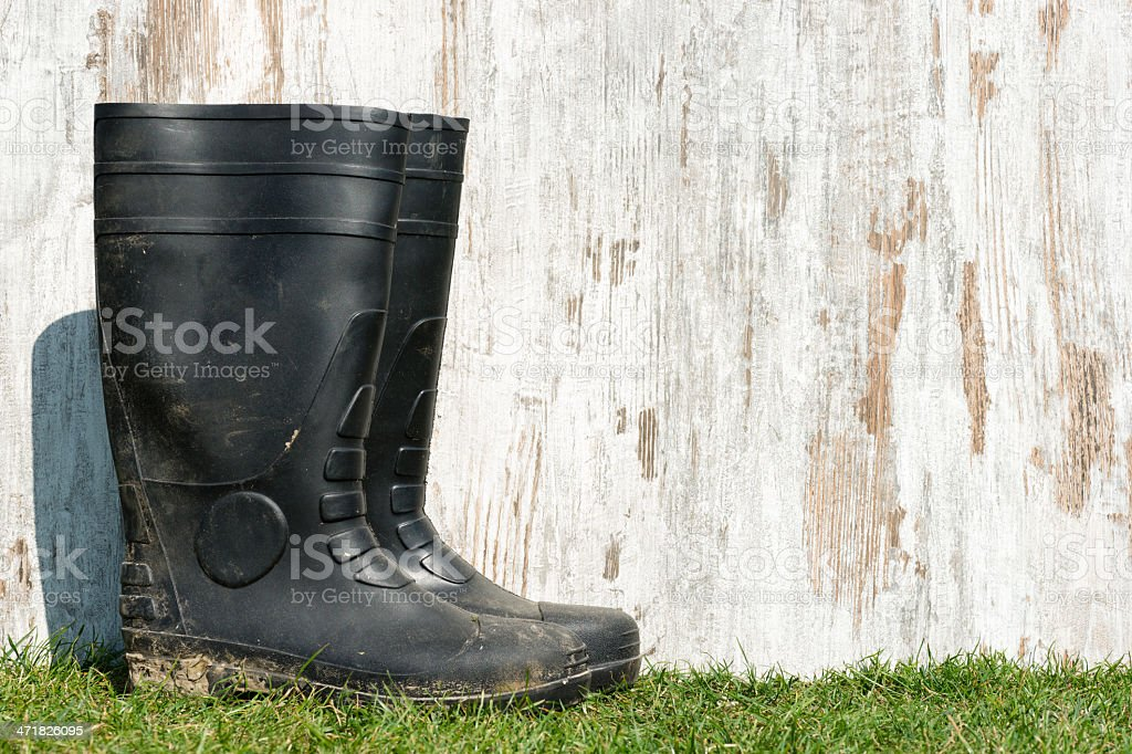 rubber boots on the grass royalty-free stock photo