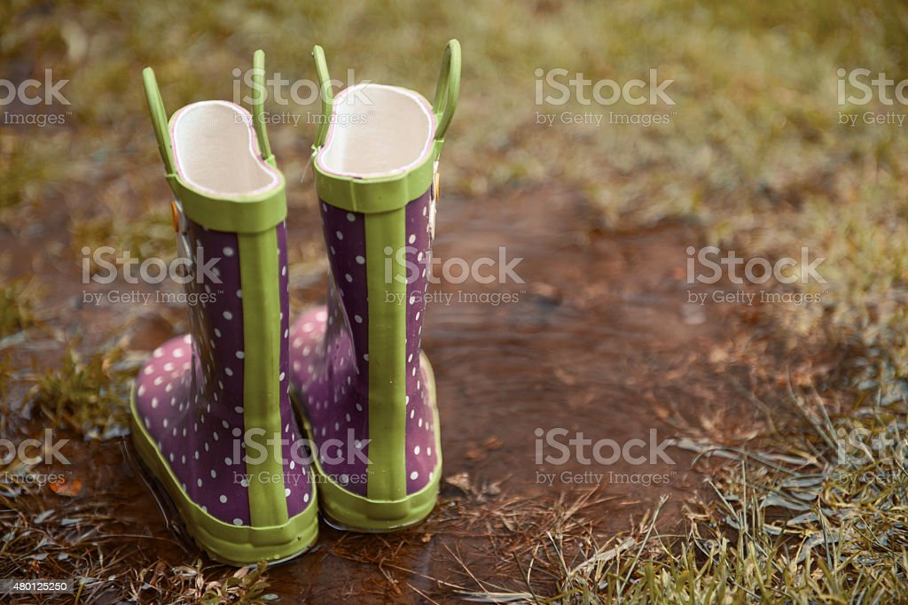 rubber boots stand in a puddle in the rain stock photo