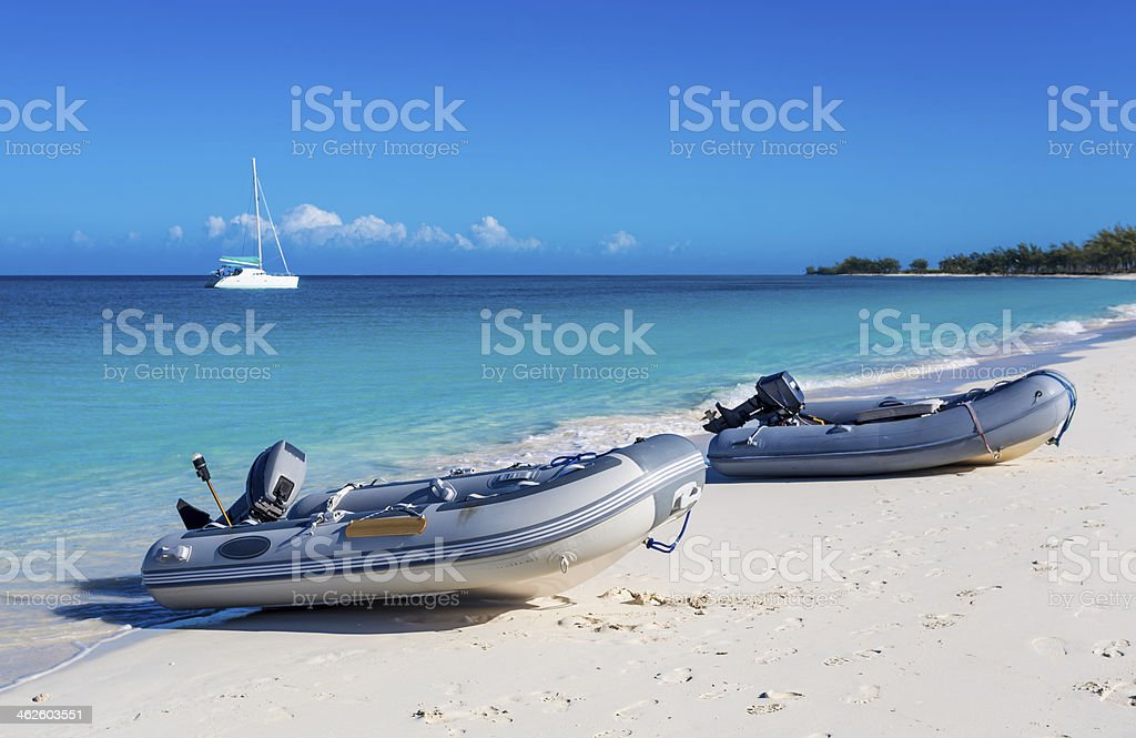 Rubber Dinghy at Beach of Bahamas stock photo