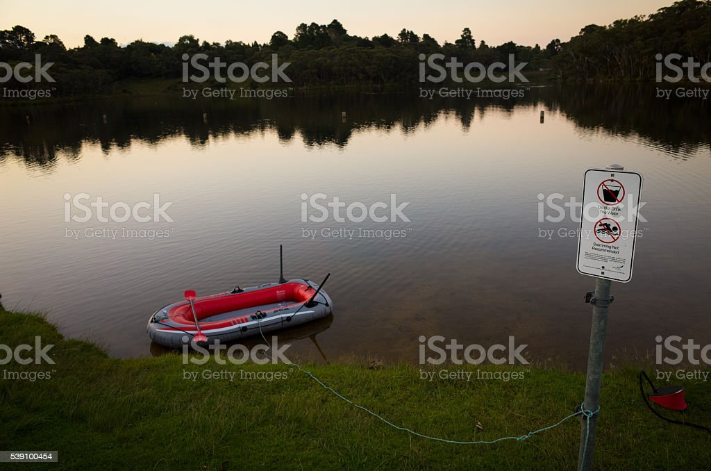 Rubber Dinghy at Wentworth Falls Lake stock photo
