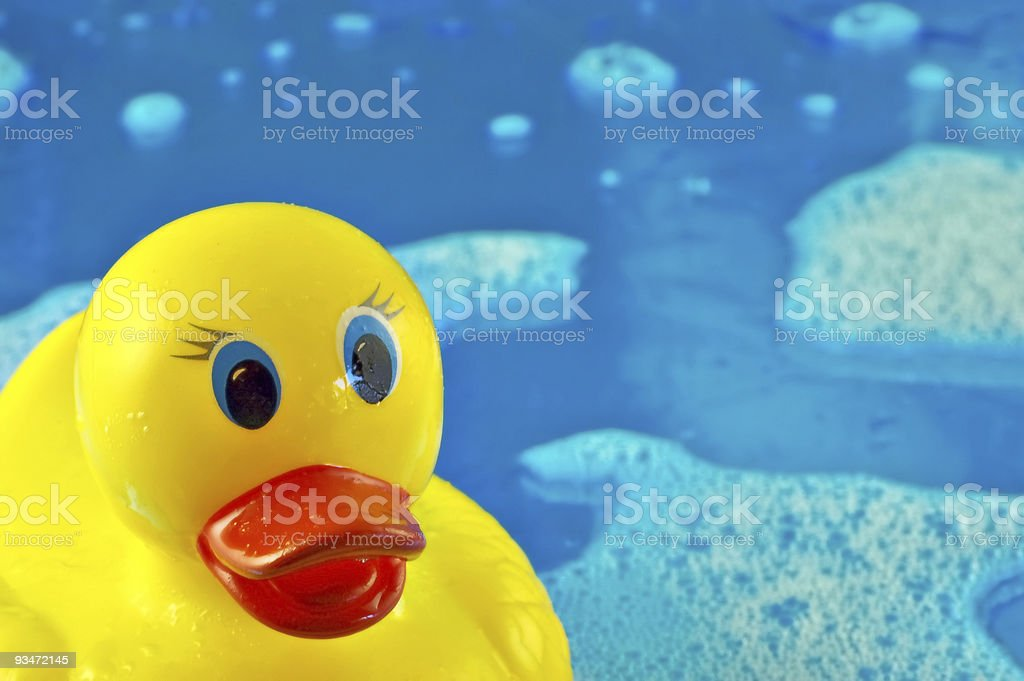 Rubber Duck in Bubbles royalty-free stock photo