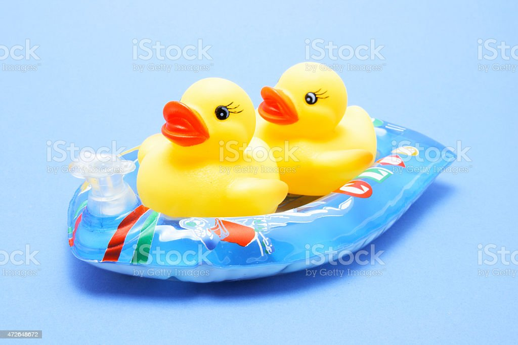... Rubber Ducks On Inflatable Boat Stock Photo ...
