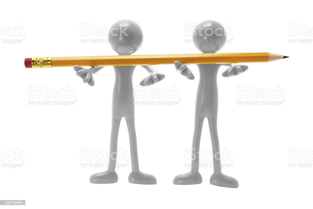 Rubber Figures with Pencil stock photo
