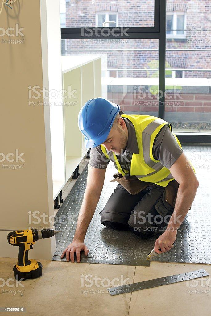 rubber floor installation stock photo