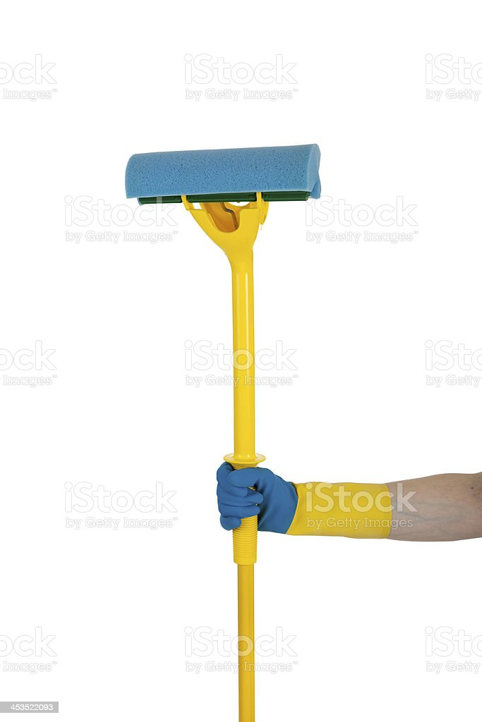 Rubber glove holding a mop on white royalty-free stock photo