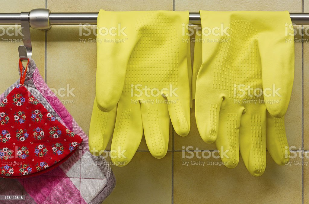 Rubber Gloves and Pot Holders royalty-free stock photo