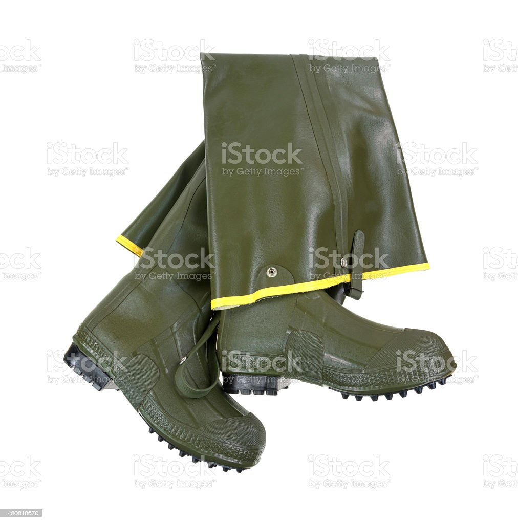 Rubber hip boots on white background stock photo