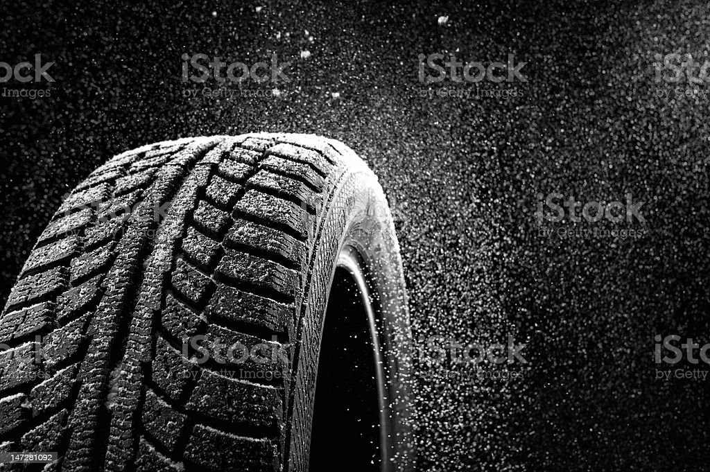 Rubber in snow stock photo