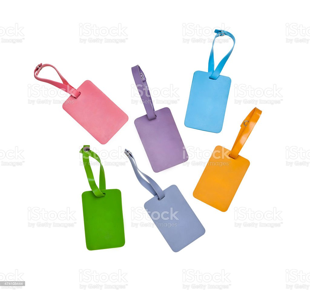 rubber luggage tags stock photo