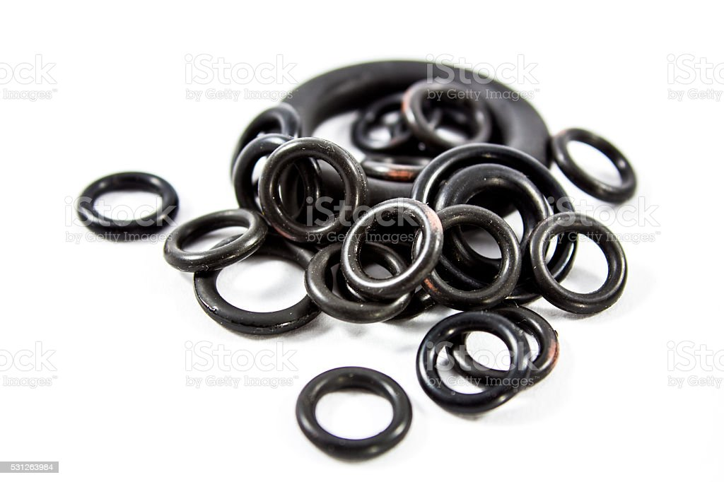 Rubber O-rings for sealing stock photo