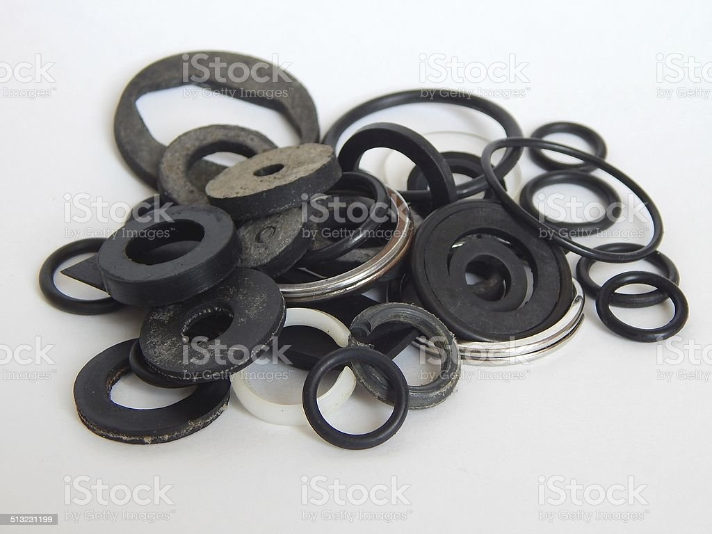 Rubber o-rings for water supply. stock photo
