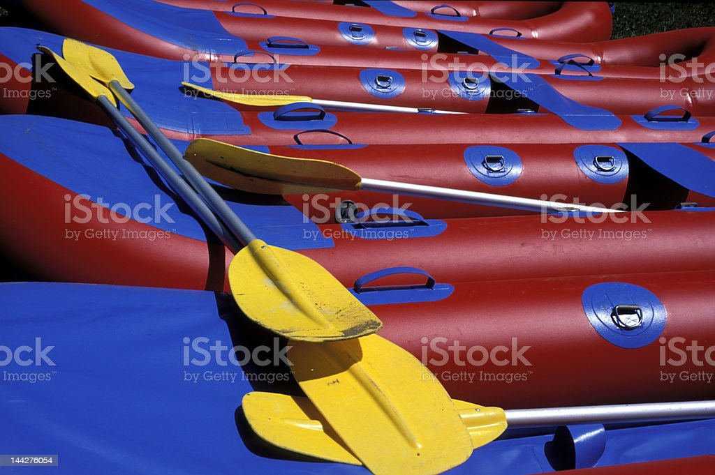 Rubber rafts stock photo