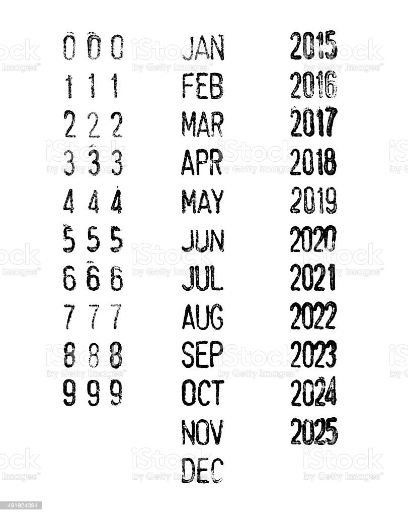 Rubber stamp dates-months-years stock photo