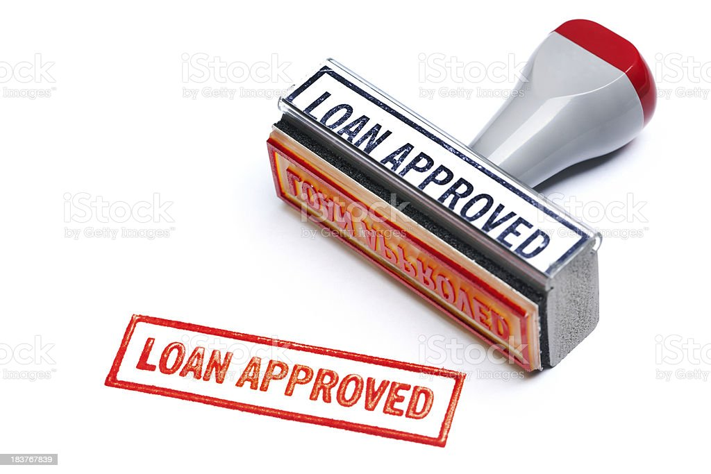 """LOAN APPROVED"" Rubber Stamp for Bank Mortgage Contract Agreement Authority stock photo"