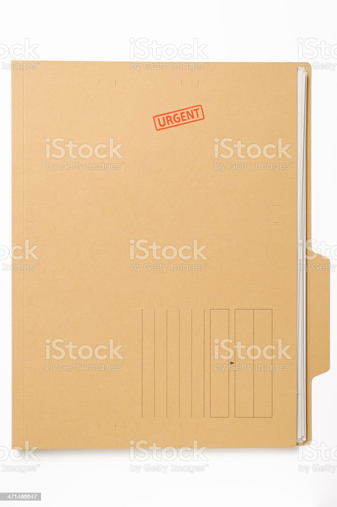 'URGENT' rubber stamp on file with documents on white background royalty-free stock photo