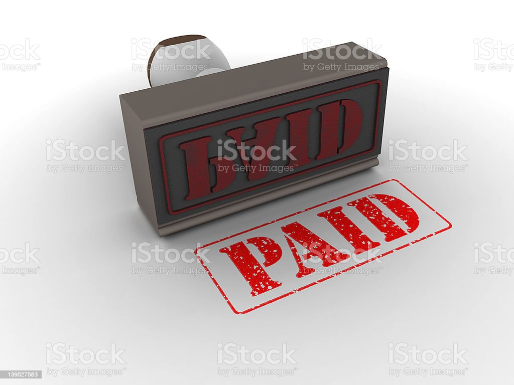 Rubber Stamp PAID. Brown. Left royalty-free stock photo
