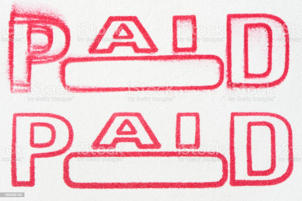 Rubber Stamp Paid stock photo