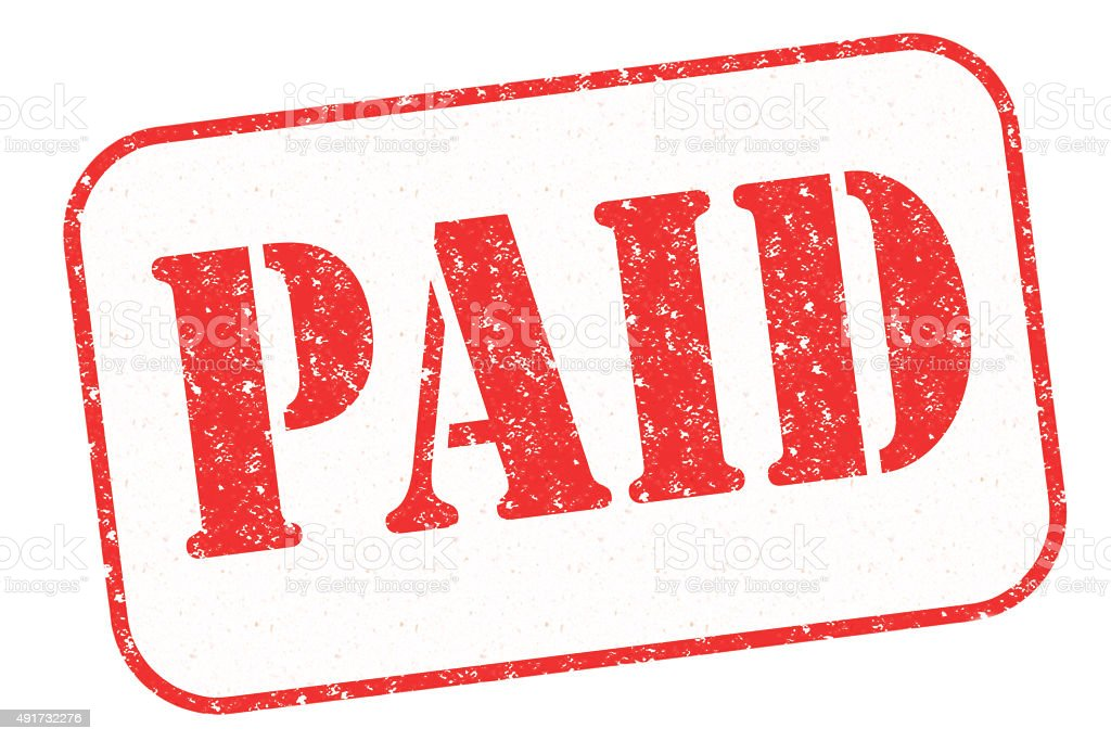 Rubber stamp 'PAID' stock photo