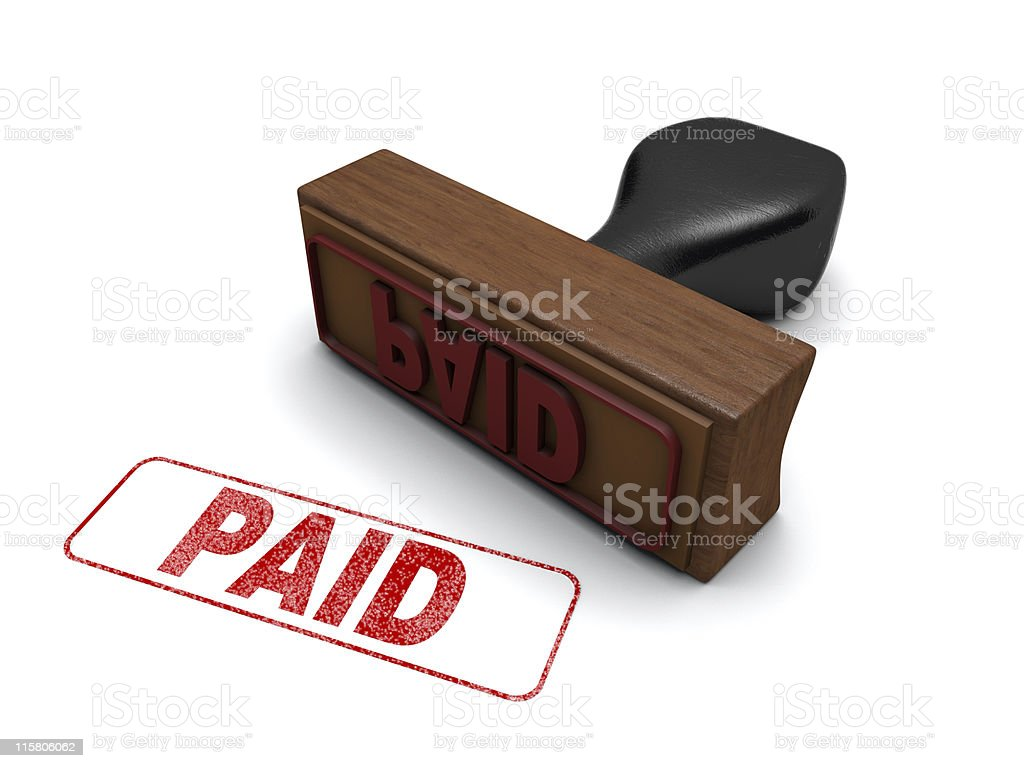 PAID Rubber Stamp stock photo