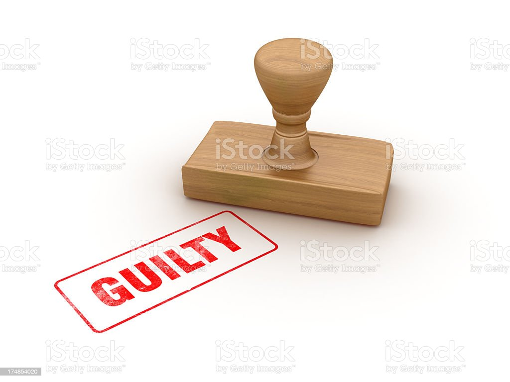 GUILTY  Rubber Stamp stock photo