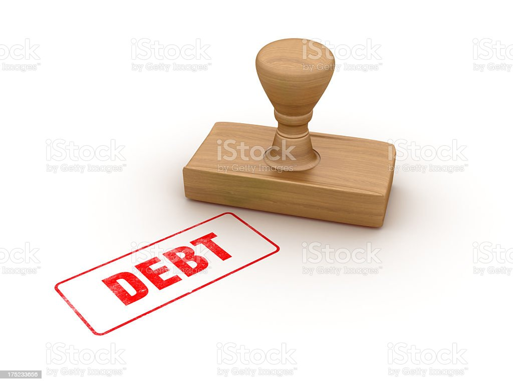DEBT Rubber Stamp royalty-free stock photo