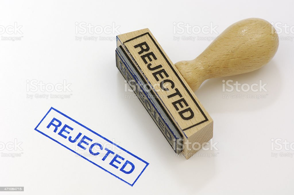 Rubber stamp rejected stock photo