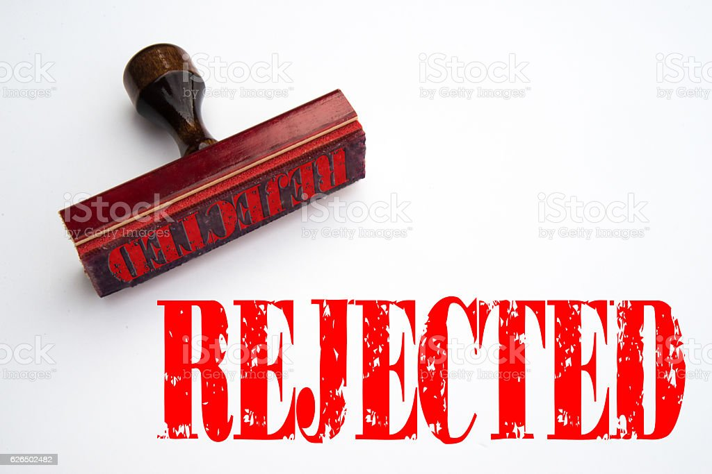 Rubber stamp with 'Rejected' stock photo