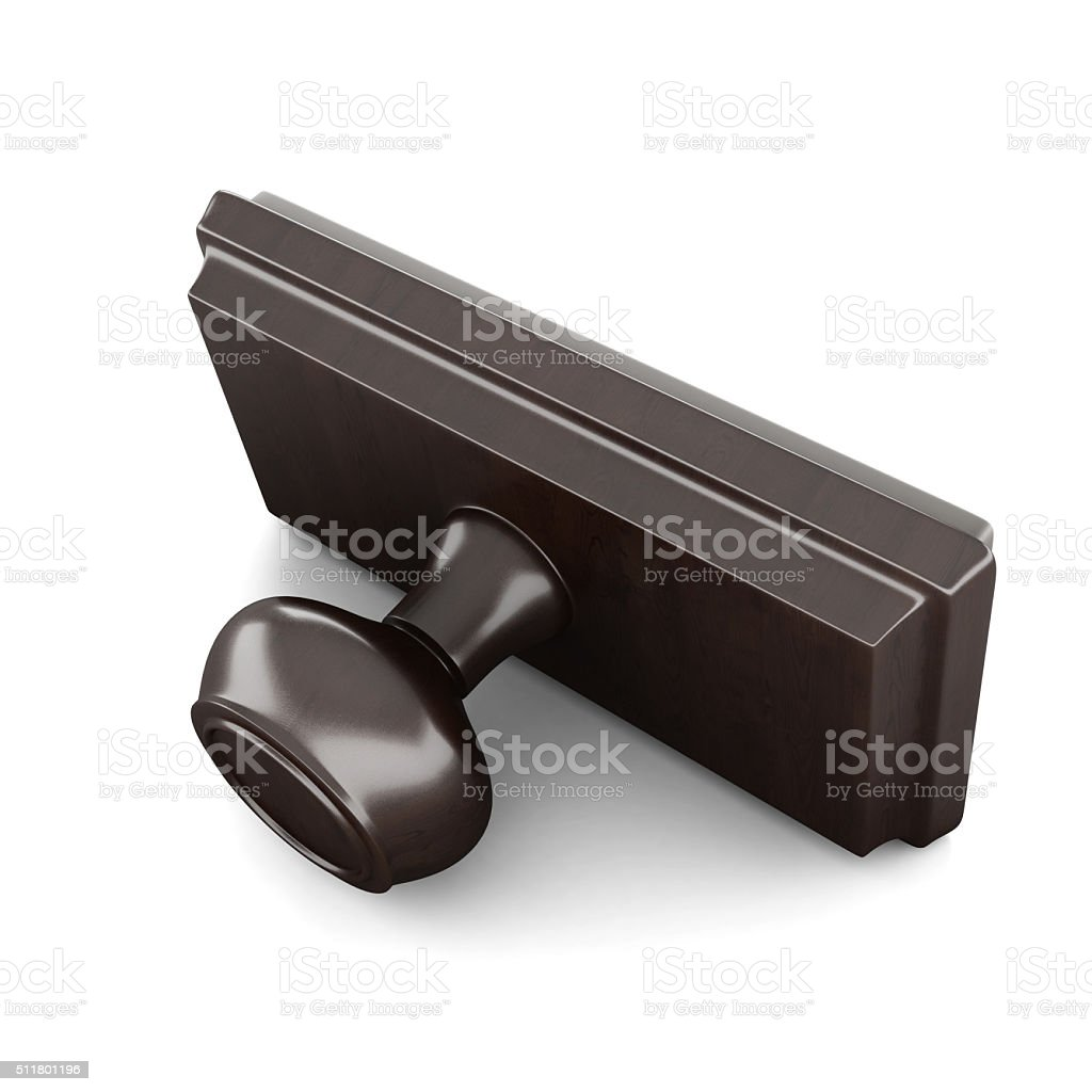 Rubber stamp with wood handle and base stock photo