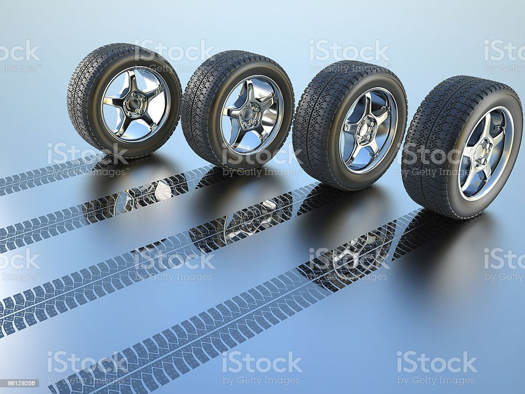 Rubber tires with different patterns stock photo