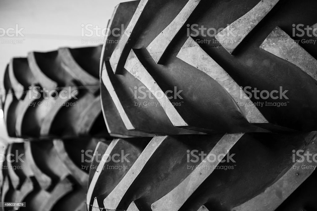 Rubber tractor tires stock photo