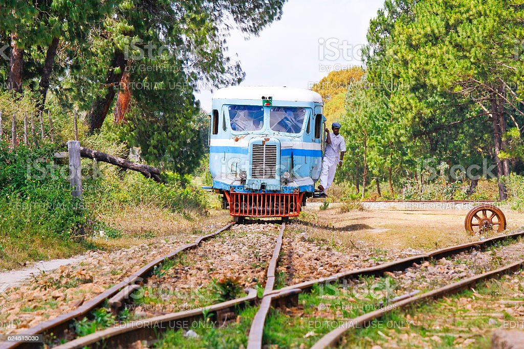 Rubber-tyred Michelin Train in Madagascar stock photo