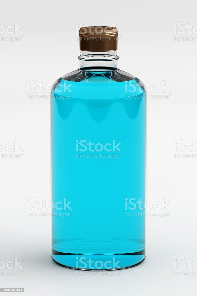 Rubbing Alcohol or Ethanol Isolated on White, 3D Rendering stock photo