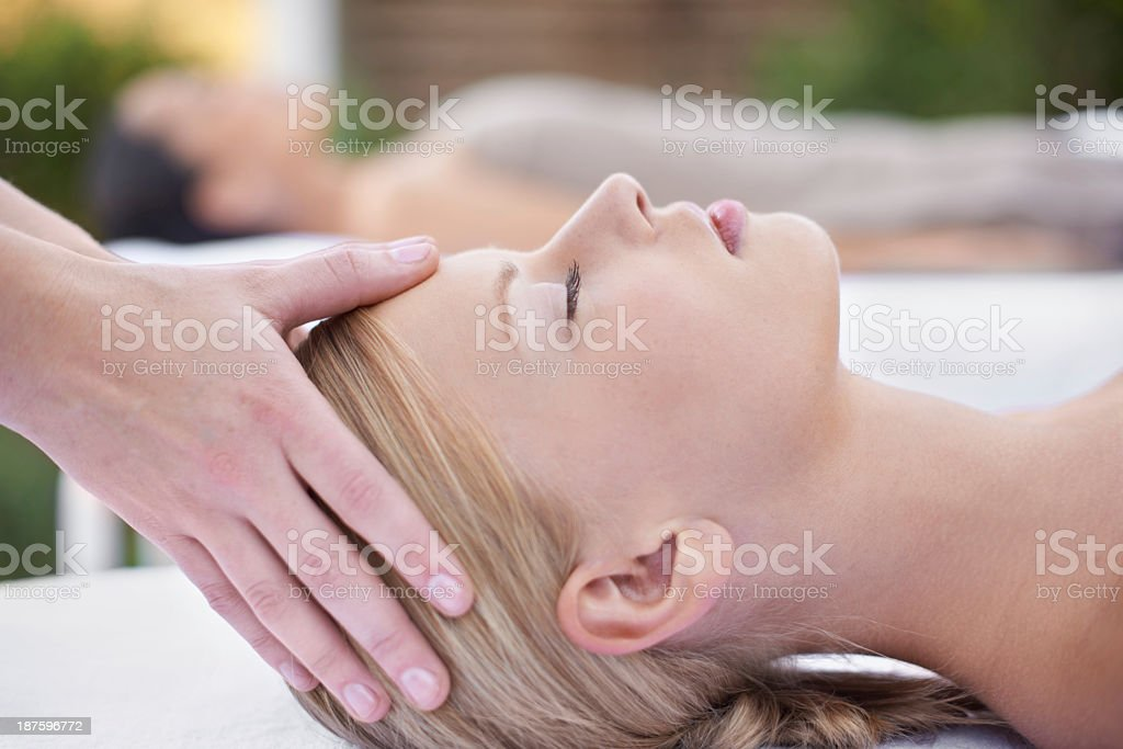 Rubbing away the day's stress royalty-free stock photo