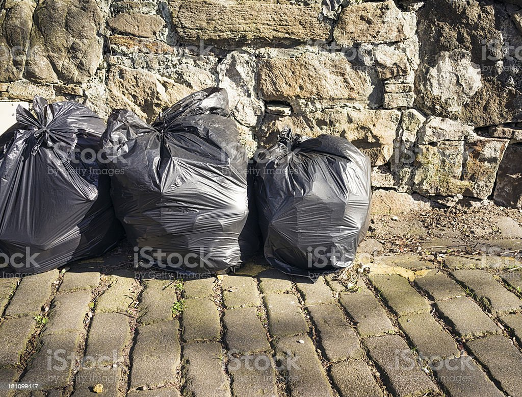 Rubbish Bags Ready For Collection royalty-free stock photo